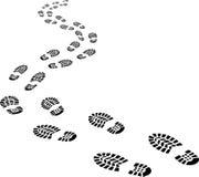 Empreintes de pas de recul Photos libres de droits