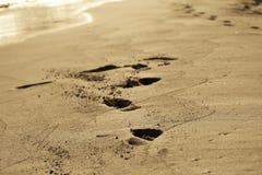 Empreintes de pas en vacances Photo libre de droits