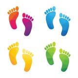 Empreintes de pas humaines colorées Photo libre de droits