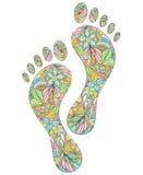 Empreintes de pas humaines sur le fond blanc Image stock