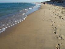 Empreintes de pas nationales de plage de garde-côte de bord de la mer de Cape Cod images stock