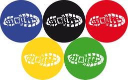 Empreintes de pas olympiques Images libres de droits