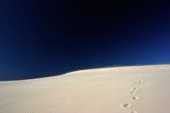 Empreintes de pas sur le désert Photos stock