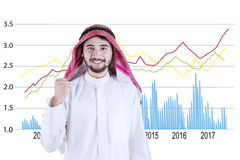 Empresário árabe com estatísticas financeiras Imagens de Stock Royalty Free