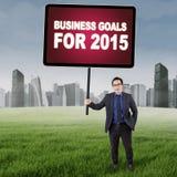 Empresário asiático com objetivos de negócios Imagem de Stock Royalty Free