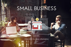 Empresário Conc da posse dos produtos do nicho de mercado da empresa de pequeno porte fotografia de stock royalty free