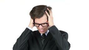 Empresário descontentado com seu salário, lucro, renda, margem video estoque