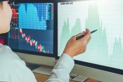 Empresário discussão de Business Man do mercado de valores de ação do investimento e troca do mercado de valores de ação do gráfi fotografia de stock royalty free