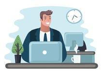 Empresário do homem de negócio em um terno que trabalha em um laptop em sua mesa de escritório limpa e lustrosa ilustração stock