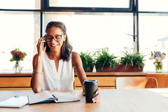 Empresário fêmea de sorriso fotografia de stock royalty free