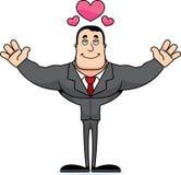 Empresário Hug dos desenhos animados ilustração stock
