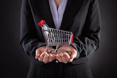 Empresário With Shopping Cart fotos de stock royalty free