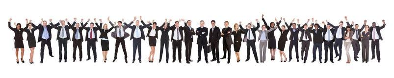 Empresários entusiasmado que comemoram o sucesso Imagens de Stock