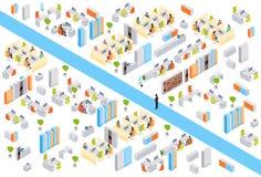 Empresários modernos do prédio de escritórios do centro de negócios que trabalham 3d interior isométrico ilustração do vetor