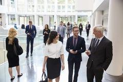 Empresários na área ocupada da entrada do escritório moderno imagens de stock royalty free