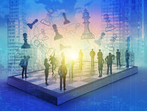 Empresários na placa de xadrez Fotos de Stock Royalty Free