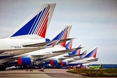 Empresa de aviões de Transaero no aeroporto internacional Sheremetyevo Foto de Stock