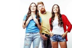 Empresa de indivíduos do moderno, do menino vermelho farpado do cabelo e das estudantes Imagens de Stock Royalty Free