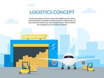 Empresa de servicios de la entrega del transporte del flete aéreo de la historieta Vector stock de ilustración