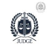 Empresa del abogado, juez y símbolo de la asesoría jurídica Fotografía de archivo