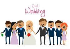 Empresa dos povos no bonito alegre do casamento Imagens de Stock Royalty Free