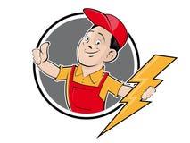 A empresa elétrica assina dentro o estilo retro ilustração stock