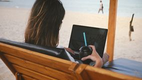 Empresaria acertada de la visión trasera con los trabajos de la bebida sobre diagramas financieros del ordenador portátil en sill almacen de video