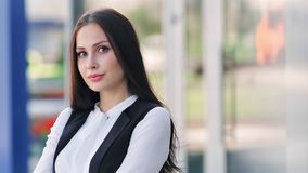 Empresaria acertada femenina europea que disfruta de jugar sonriente de la rotura con los vidrios almacen de video