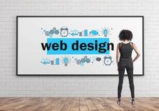 Empresaria afroamericana, diseño web foto de archivo libre de regalías