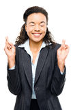 Empresaria afroamericana que desea el fondo blanco aislado Foto de archivo libre de regalías