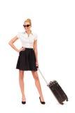 Empresaria alegre con la maleta. Fotos de archivo libres de regalías
