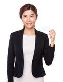 Empresaria asiática con el puño del brazo para animar para arriba Foto de archivo libre de regalías