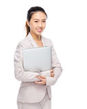 Empresaria asiática con la computadora portátil Imagen de archivo libre de regalías