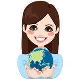 Empresaria asiática Holding World ilustración del vector