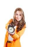 Empresaria atractiva con el reloj Fotos de archivo