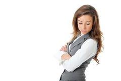 Empresaria atractiva confidente joven, aislada Foto de archivo