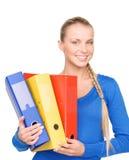 Empresaria atractiva joven con las carpetas Foto de archivo