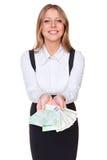 Empresaria atractiva que muestra el dinero Fotos de archivo
