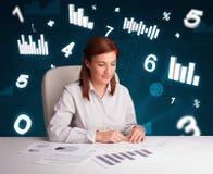 Empresaria joven que se sienta en el escritorio con los diagramas y las estadísticas Imágenes de archivo libres de regalías