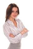 Empresaria bonita joven con el brazo doblado Retrato lleno de la altura foto de archivo libre de regalías