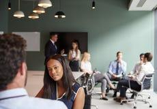 Empresaria And Businessman Collaborating en tarea junto en el día graduado de la evaluación del reclutamiento foto de archivo
