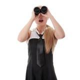 Empresaria con binocular Fotografía de archivo