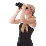 Empresaria con binocular Fotos de archivo