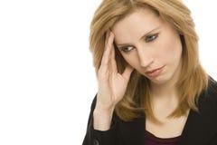 Empresaria con dolor de cabeza Imagen de archivo libre de regalías