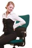 Empresaria con dolor de espalda del dolor de espalda aislada fotografía de archivo