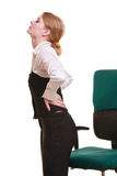 Empresaria con dolor de espalda del dolor de espalda aislada fotografía de archivo libre de regalías