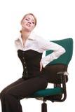 Empresaria con dolor de espalda del dolor de espalda aislada foto de archivo libre de regalías