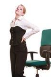 Empresaria con dolor de espalda del dolor de espalda aislada fotos de archivo libres de regalías