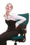 Empresaria con dolor de espalda del dolor de espalda aislada foto de archivo