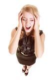 Empresaria con dolor de la cabeza del dolor de cabeza que grita Imagen de archivo